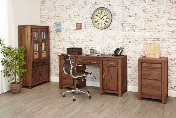 Mayan walnut twin pedestal desk with a lacquer finish and bronze handles